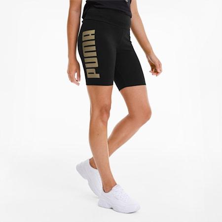 Rebel Tight Women's Shorts, Puma Black-Gold Silver, small
