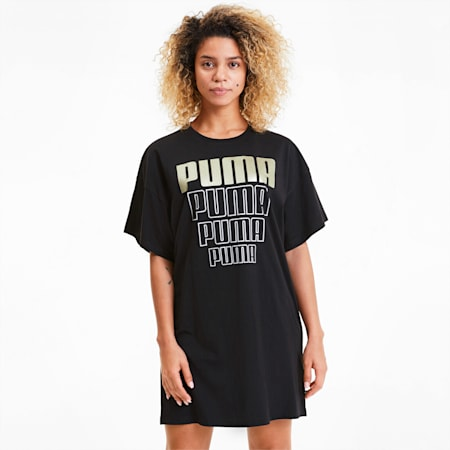 Rebel Damen Leichtes T-Shirt-Kleid, Puma Black-Gold Silver, small