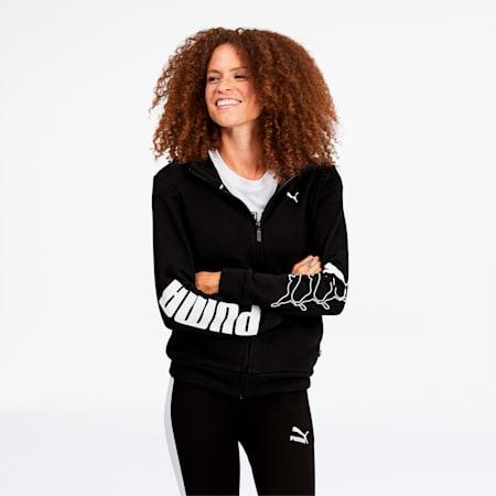 Rebel Women's Full Zip Hoodie, Puma Black, small