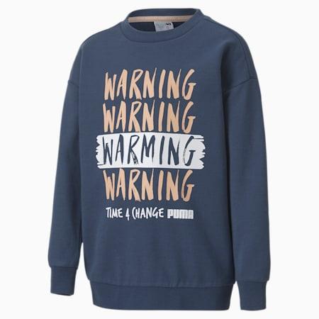 Time4Change Little Kids' Crewneck Sweatshirt, Dark Denim, small