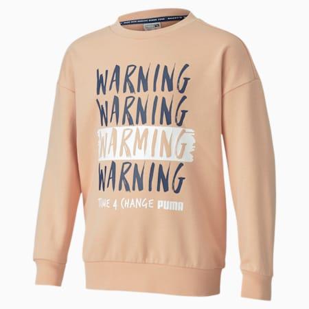 Time4Change Little Kids' Crewneck Sweatshirt, Pink Sand, small
