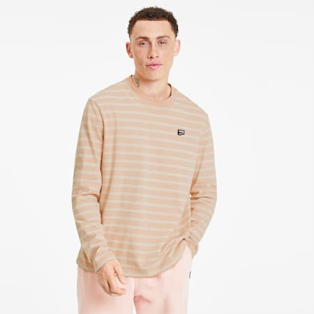 Downtown Long Sleeve Men's Tee, Pink Sand, small-SEA