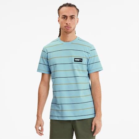 FUSION Striped Men's Tee, Aquamarine, small-SEA