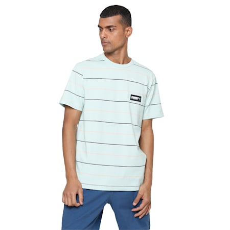 FUSION Striped T-Shirt, Mist Green, small-IND