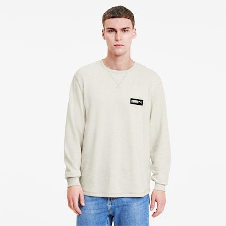 FUSION Men's Crewneck Sweatshirt, Tapioca Heather, small