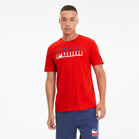 ATHLETICS Big Logo Men's Tee, High Risk Red-Dark Denim, small-SEA