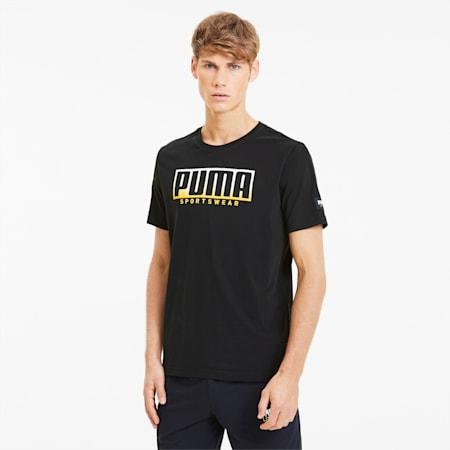 ATHLETICS Big Logo Men's Tee, Puma Black-Golden Rod, small-SEA