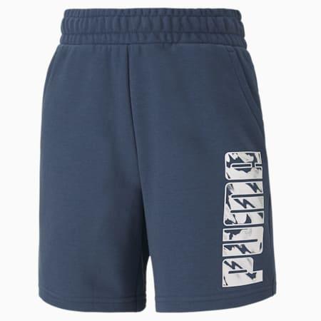 Graphic Sweat Shorts, Dark Denim, small-IND