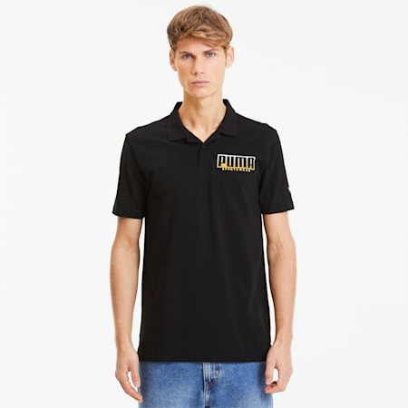 ATHLETICS Men's Polo Shirt, Puma Black-Golden Rod, small-SEA