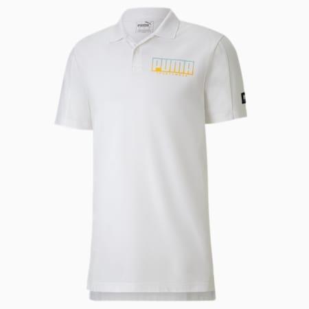 Camiseta tipo polo Athletics para hombre, Puma White-Golden Rod, pequeño
