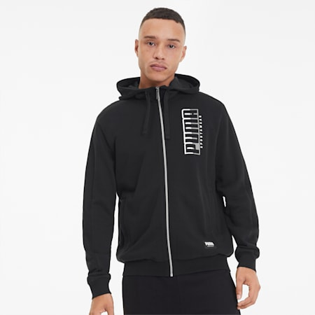 ATHLETICS Hooded Men's Jacket, Puma Black, small-SEA