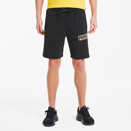 ATHLETICS Men's Shorts, Puma Black-Golden Rod, small-SEA