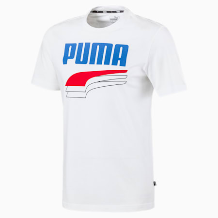 REBEL Bold T-shirt voor heren, Puma White-Palace Blue, small