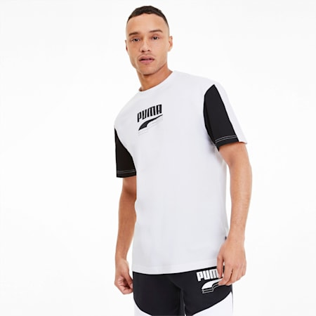 REBEL Block Men's Tee, Puma White, small-SEA