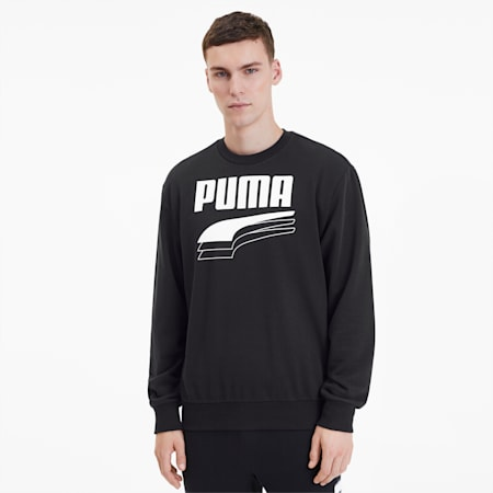 REBEL Bold Crew Neck Men's Sweater, Puma Black, small-SEA