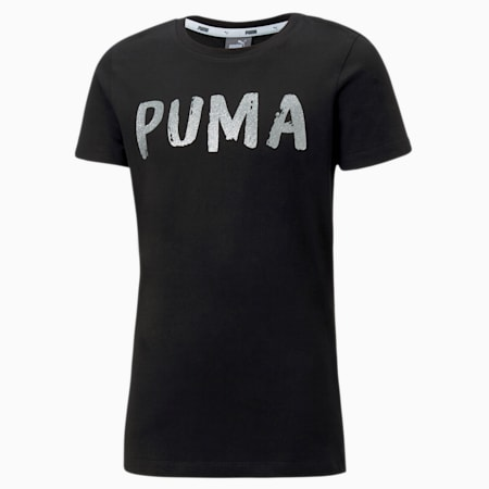 Alpha Girls' Tee, Puma Black, small-SEA