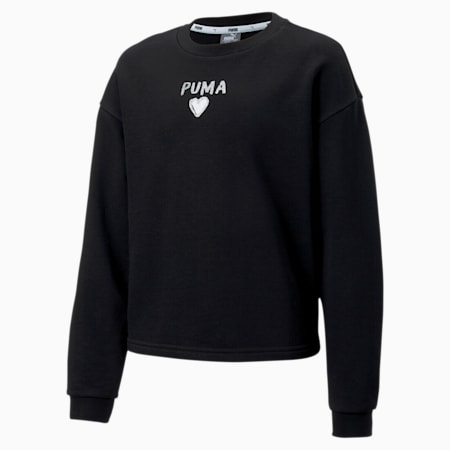 Alpha Crew Neck Girls' Sweater, Puma Black, small-SEA