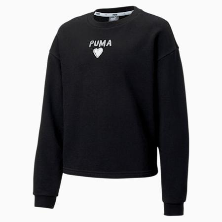 Alpha Crew Neck Girls' Sweater, Puma Black, small-SEA