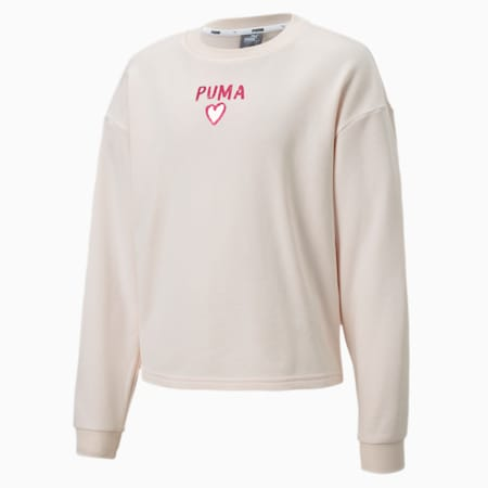 Alpha Crew Neck Girls' Sweater, Rosewater, small-SEA