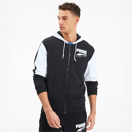 REBEL Block Full Zip Men's Hoodie, Puma Black, small-SEA