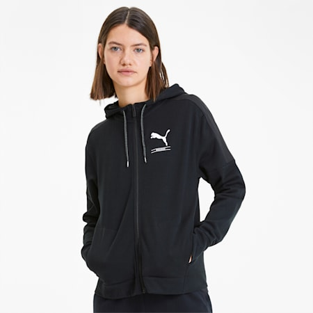 NU-TILITY Full Zip Women's Hoodie, Puma Black, small-SEA
