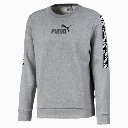 Amplified Fleece Crew Neck Men's Sweater, Medium Gray Heather, small-IND