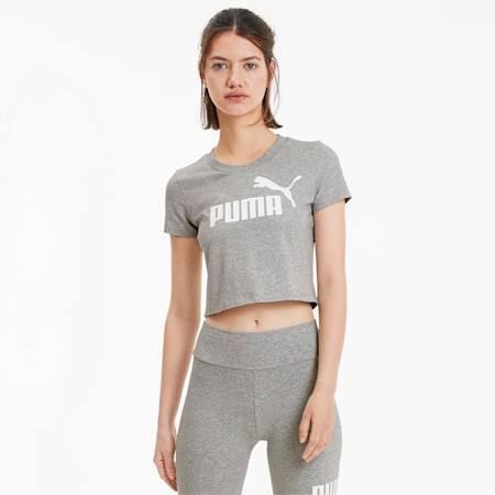 Essentials+ Women's Fitted Tee, Light Gray Heather, small