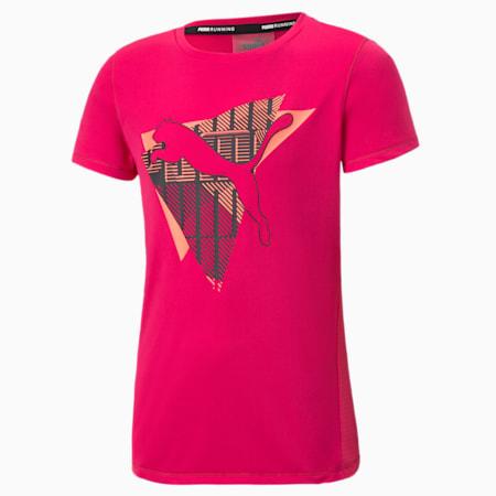 Dziewczęca koszulka do biegania Runtrain, BRIGHT ROSE, small