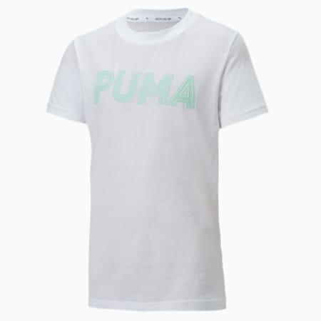 Modern Sports Logo Girls' Tee, Puma White-mist green, small-SEA