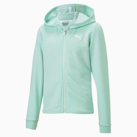 Dziewczęca rozpinana bluza Modern Sports z kapturem, Mist Green, small