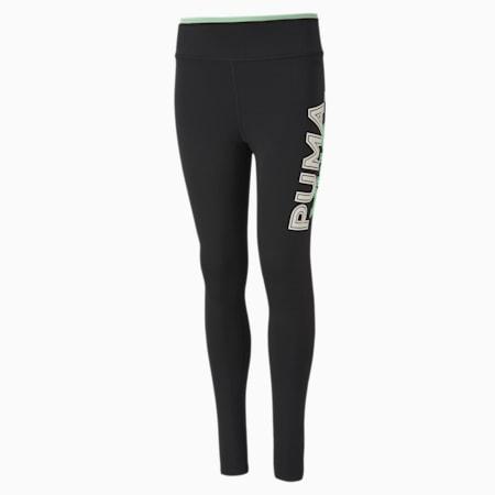 Modern Sports Girls' Leggings, Puma Black-Mist Green, small