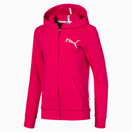 Graphic Full Zip Girls' Jacket, BRIGHT ROSE, small-IND