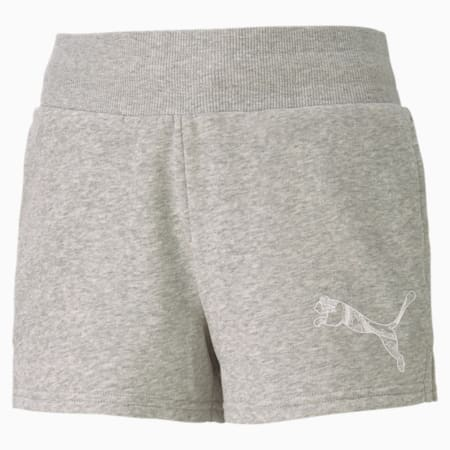 Graphic Girls' Shorts, Light Gray Heather, small-SEA