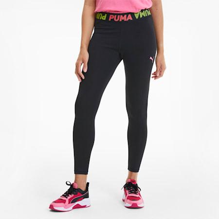 Modern Sports Women's Band Leggings, Puma Black-Bubblegum, small