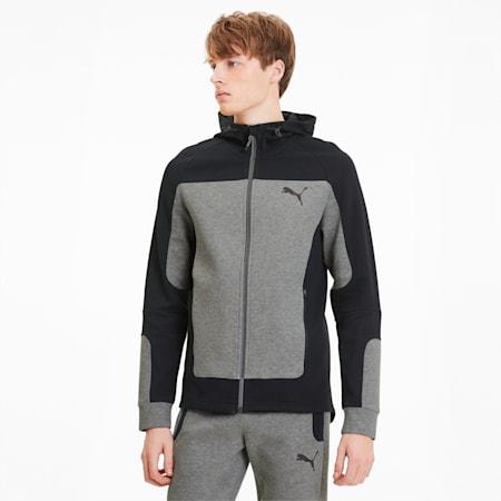Evostripe Hooded Men's Jacket, Medium Gray Heather, small