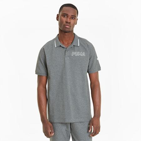 Modern Sports Short Sleeve Men's Polo Shirt, Medium Gray Heather-White, small-SEA