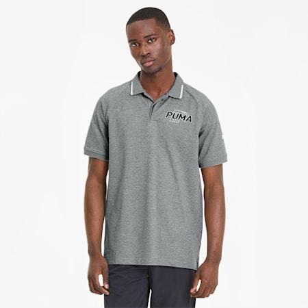Modern Sports Short Sleeve Men's Polo Shirt, Medium Gray Heather-Black, small-SEA