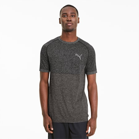 evoKNIT Slim Fit T-shirt voor heren, Puma Black, small