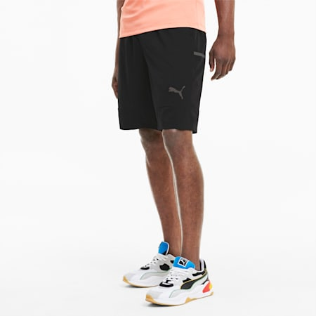 Woven Men's Shorts, Puma Black-Fusion Coral, small