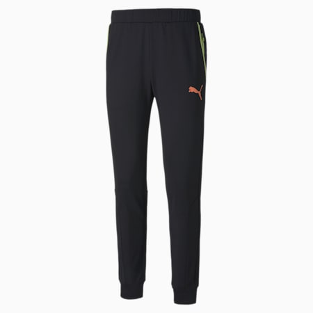 RTG Knitted Men's Pants, Puma Black-Fusion Coral, small-SEA