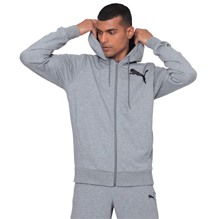 ACTIVE Graphic FZ Hoody, Medium Gray Heather, small-IND