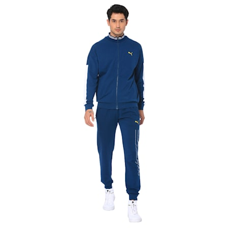 one8 Men's Knitted Track Jacket, Gibraltar Sea, small-IND