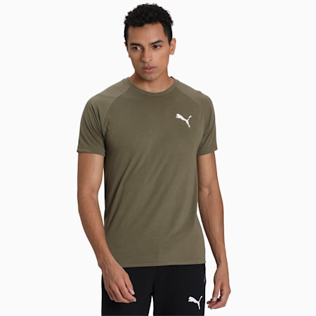 Evostripe Men's Slim Fit T-Shirt, Burnt Olive, small-IND