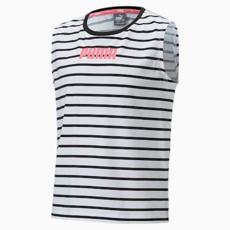 Alpha Sleeveless Girls' T-Shirt, Puma White, small-IND