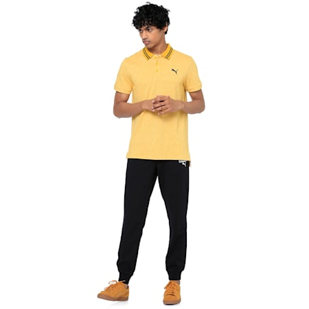 Striped Men's Polo T-shirt, Sulphur Heather, small-IND