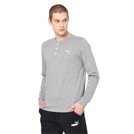 Henley Men's Sweatshirt, CASTLEROCK Heather, small-IND