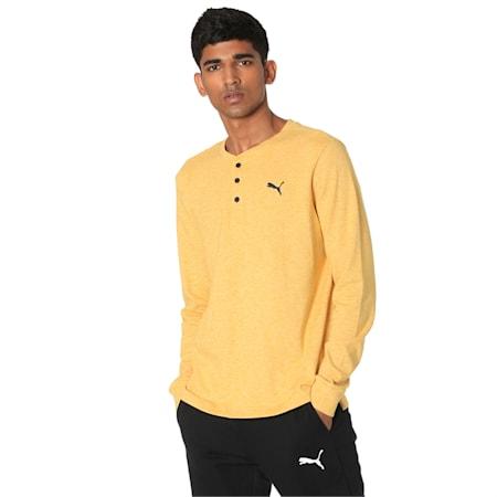 Henley Men's Sweatshirt, Sulphur Heather, small-IND