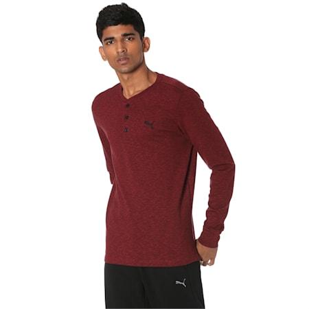 Henley Men's Sweatshirt, Rhubarb Heather, small-IND