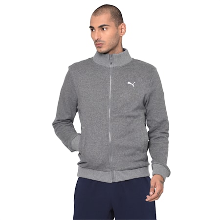 Reversible Men's Sweat Jacket, Medium Gray Heather, small-IND