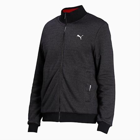 Reversible Men's Sweat Jacket, Puma Black-Red Dahlia, small-IND